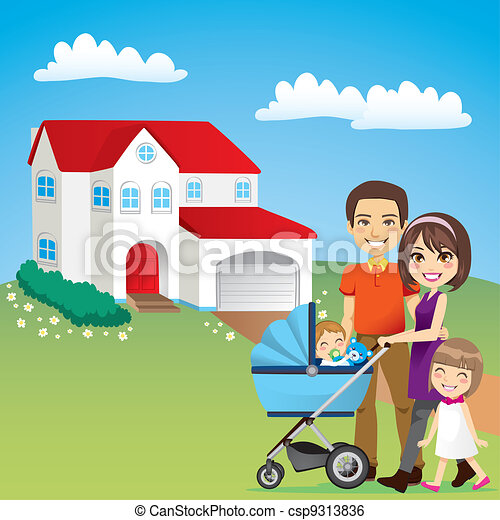 Clip Art Vector of Beautiful Family House - Young family ...