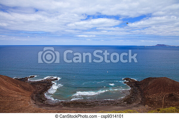 Canary Islands, small island Isla de Lobos,view north from the only prominent extinct volcano on it, fallen-in caldera visible - csp9314101
