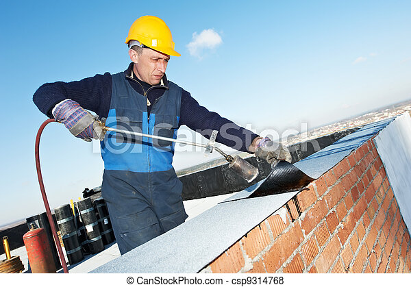 Flat roof covering works with roofing felt - csp9314768