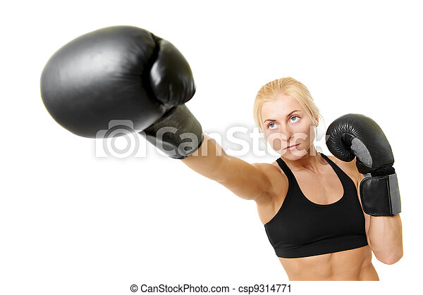 boxer woman with black boxing gloves - csp9314771