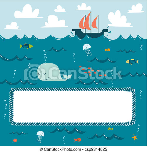 Sea creatures and decorative frame for your text - csp9314825