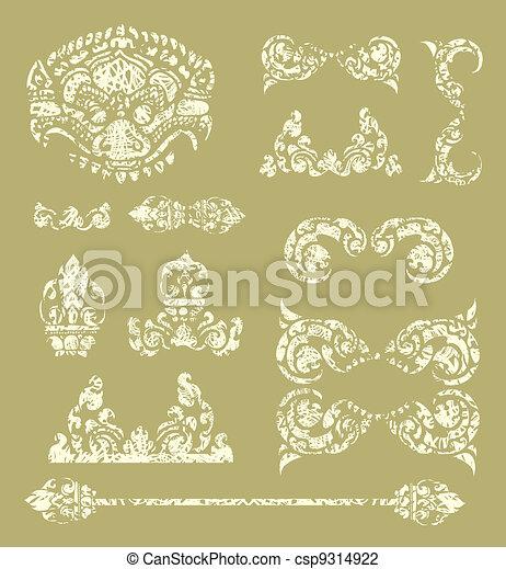 Grunge Cambodian floral pattern  - csp9314922