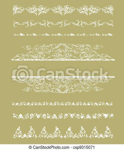Grunge Cambodian floral pattern  - csp9315071