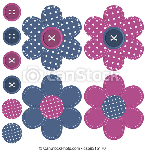 set with scrapbook flowers and butt - csp9315170