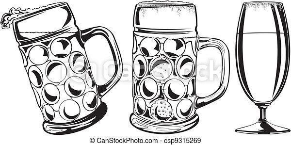beer mug and glass - csp9315269