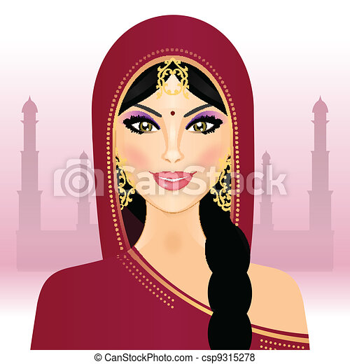 Vector illustration of Indian woman - csp9315278