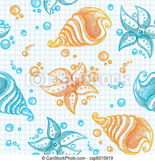 hand drawn pattern of starfishes and shells - csp9315919