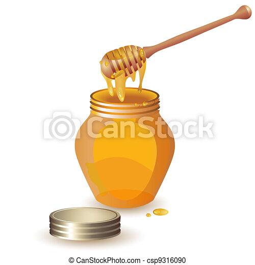 Jar of honey with wooden dipper  - csp9316090