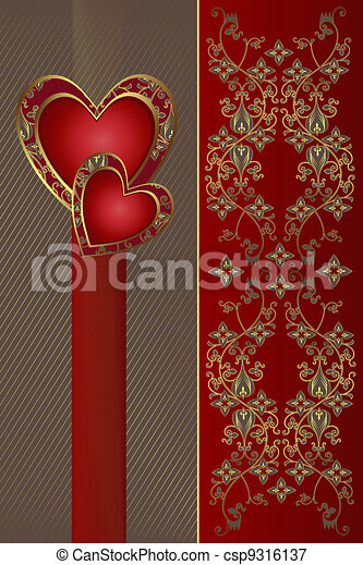 Congratulation card with red hearts - csp9316137