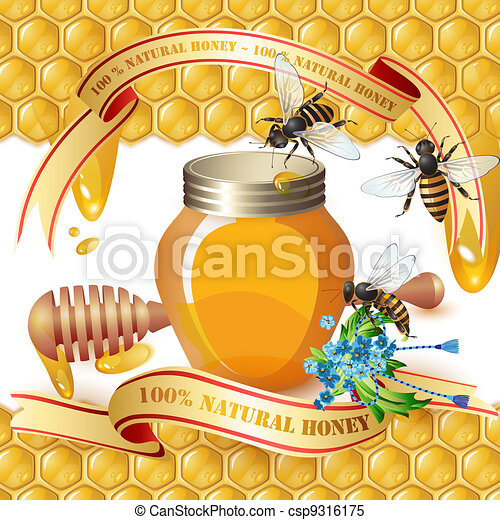 Closed honey jar and wooden dipper - csp9316175
