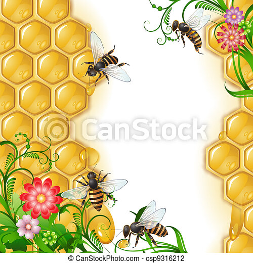 Background with bees and honeycomb  - csp9316212