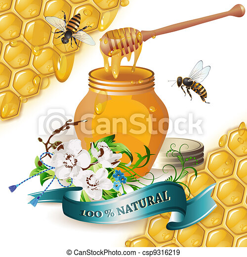 Jar of honey with wooden dipper - csp9316219