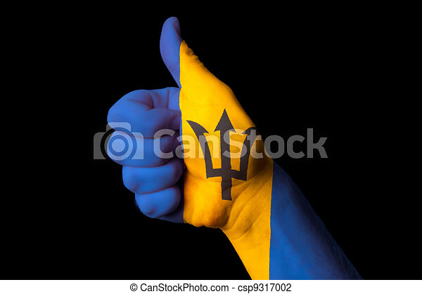 barbados national flag thumb up gesture for excellence and achie - csp9317002