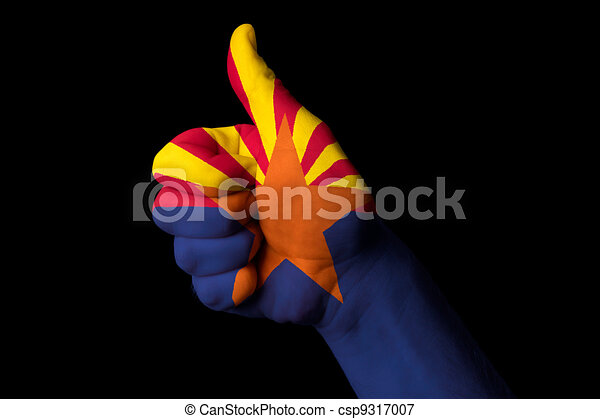 arizona us state flag thumb up gesture for excellence and achiev - csp9317007
