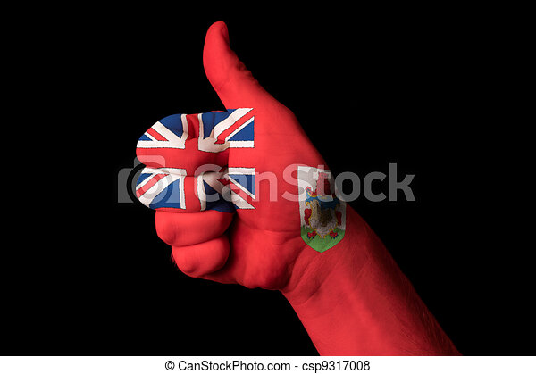 bermuda national flag thumb up gesture for excellence and achiev - csp9317008