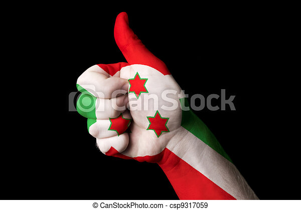 burundi national flag thumb up gesture for excellence and achiev - csp9317059