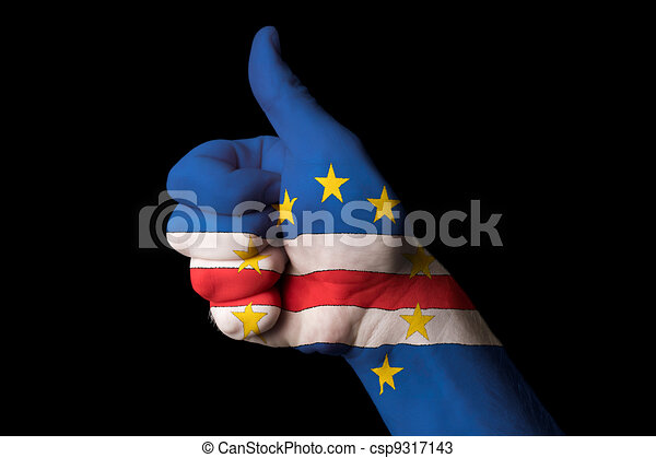 cape verde national flag thumb up gesture for excellence and ach - csp9317143
