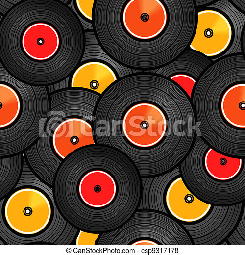 Vinyl audio discs seamless background - csp9317178