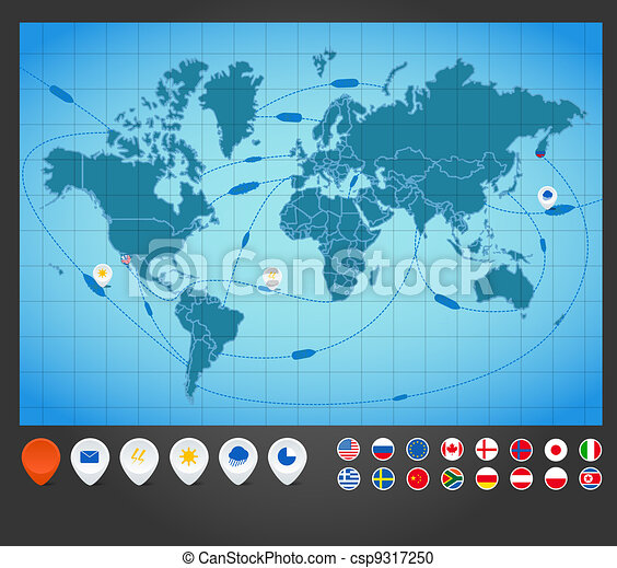 Infographics. World map with ship tracking - csp9317250