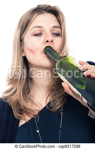 Drunk woman drinking alcohol - csp9317298