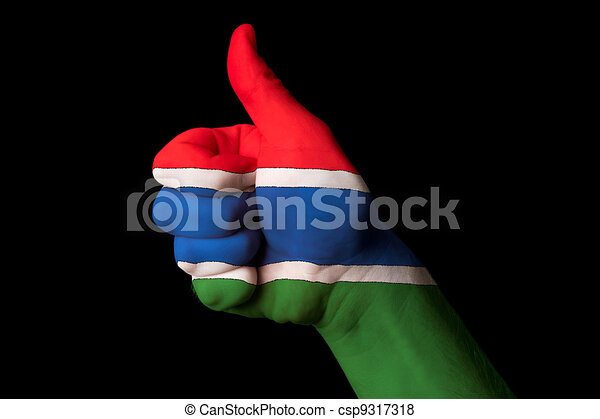 gambia national flag thumb up gesture for excellence and achieve - csp9317318