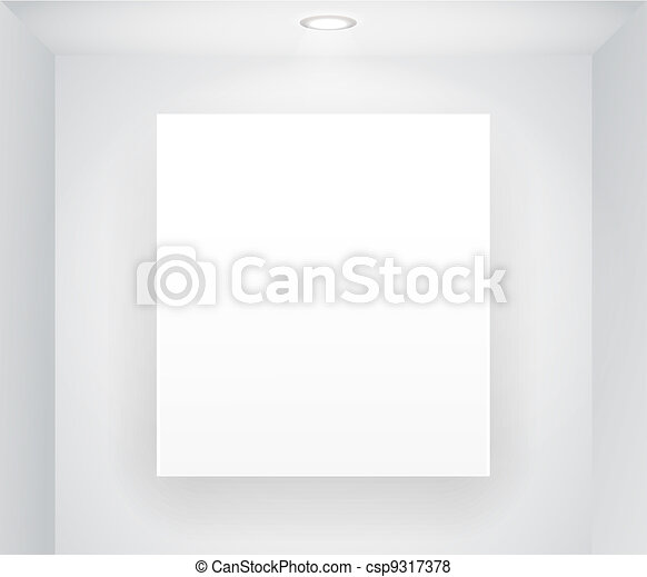 Illuminated board on the wall. Ready for your content - csp9317378