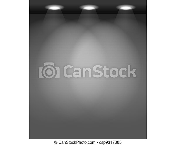 Illuminated empty wall template. Ready for your content - csp9317385