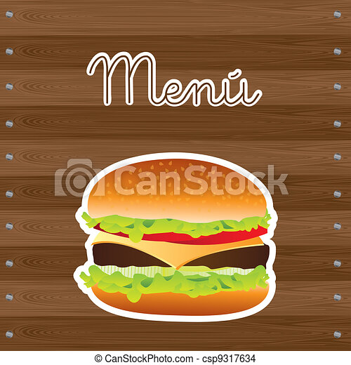 hamburger over wooden - csp9317634