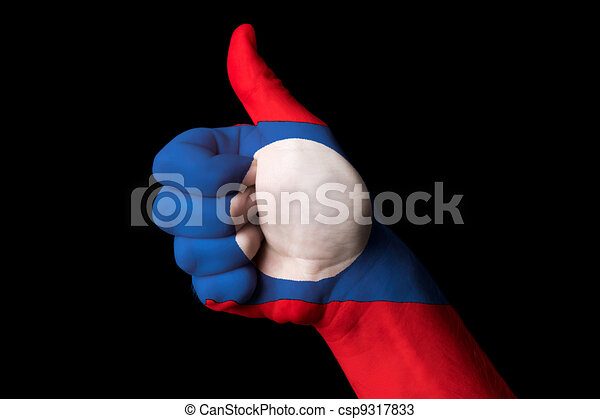 laos national flag thumb up gesture for excellence and achieveme - csp9317833