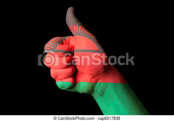 malawi national flag thumb up gesture for excellence and achieve - csp9317838