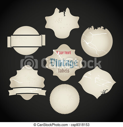 Vector scratched vintage labels set - csp9318153