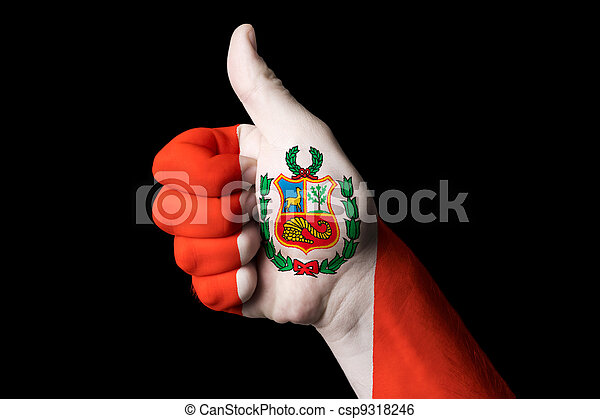 peru national flag thumb up gesture for excellence and achieveme - csp9318246