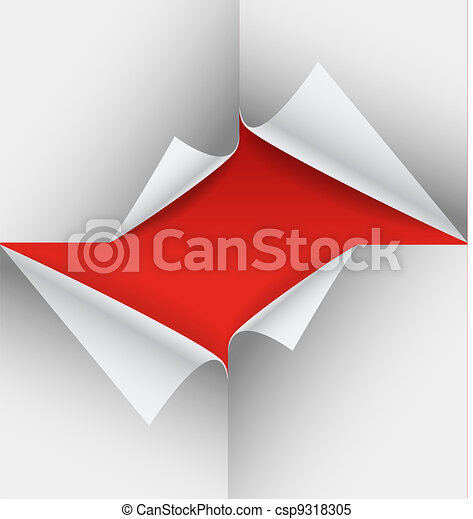 Blank paper sheets with bending corners - csp9318305