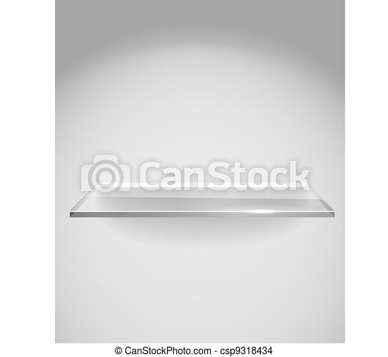 Empty advertising glass shelf withh a spot lignt - csp9318434