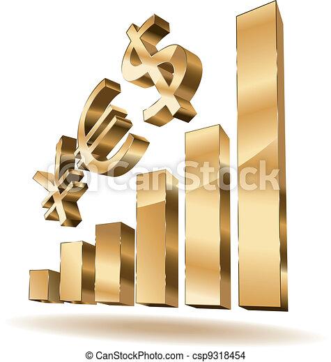 Growing golden bars - csp9318454