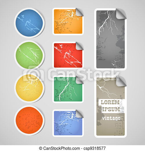 Colorful shopping vintage scratched discount stickers - csp9318577