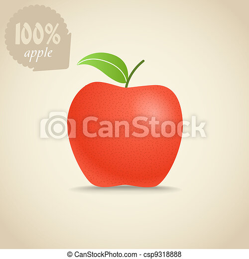 Cute fresh red apple illustration - csp9318888