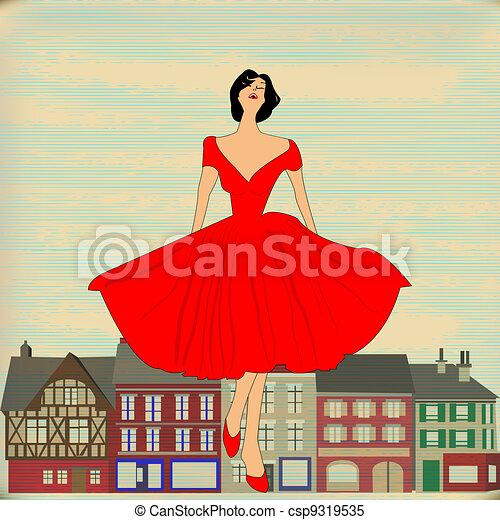 Retro Happy, Girl in red 1950's style dress - csp9319535