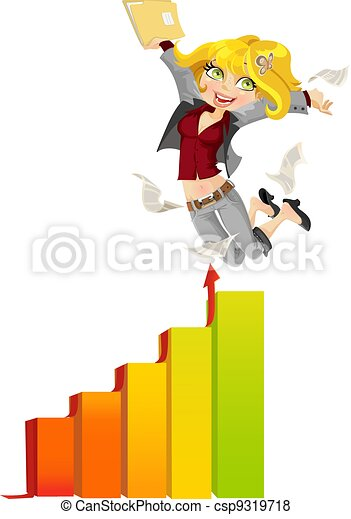 Business lady happy peak hopping graphics - csp9319718