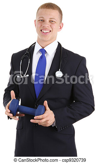Doctor with dumbell - csp9320739