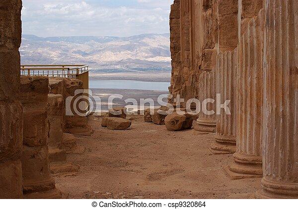 Ruins of ancient colonnade of King Herod's palace in Masada - csp9320864