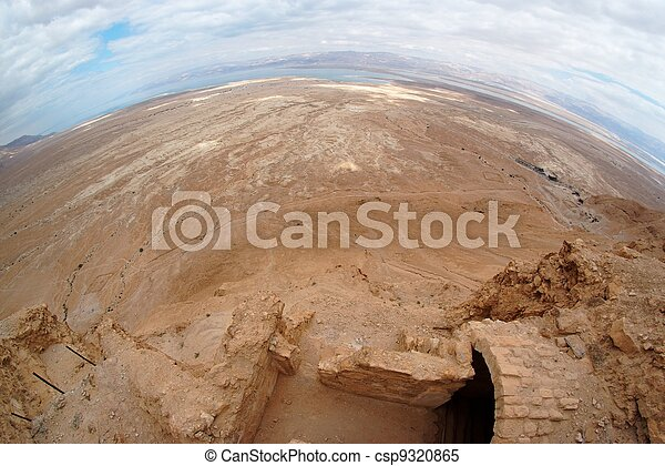 Fisheye view of desert landscape near the Dead Sea seen from ruins of Masada fortress - csp9320865