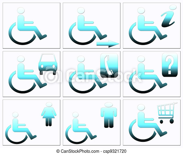 Stock Illustration of Handicap symbol, disabled icon set ...