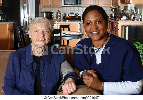 Picture of Home Health Care - Home health care worker and an elderly...