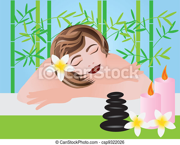 Woman Relaxing in Spa Illustration - csp9322026