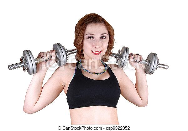 Closeup of weightlifting girl. - csp9322052
