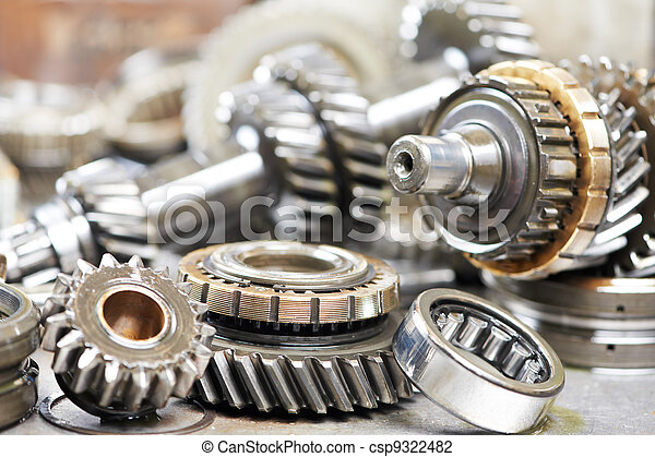 Close-up of automobile engine gears - csp9322482