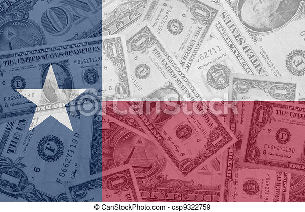 transparent united states of america state flag of texas with dollar currency in background symbolizing political, economical and social government - csp9322759