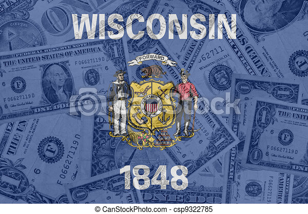 transparent united states of america state flag of wisconsin with dollar currency in background symbolizing political, economical and social government - csp9322785