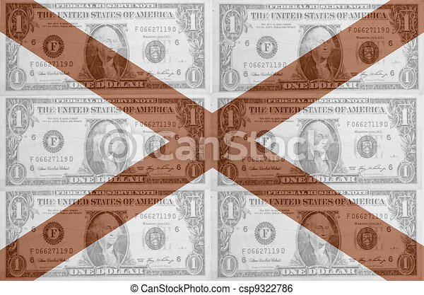 transparent united states of america state flag of alabama with dollar currency in background symbolizing political, economical and social government - csp9322786